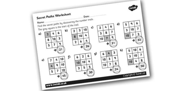Secret Addition Number Paths Worksheets - addition worksheet, secret paths worksheet, number square addition worksheet, ks2 addition worsheet, adding, ks2