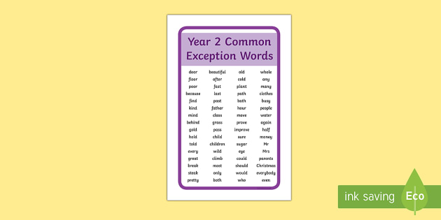 IKEA Tolsby Year 2 Common Exception Words Prompt Frame