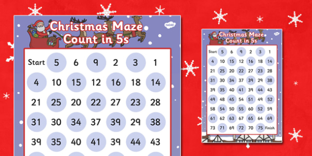 Christmas Maze Counting in 5s Activity Sheet - christmas, maze, christmas maze, coutning in 5s, counting games, christmas games, themed counting activity, counting activity, worksheet