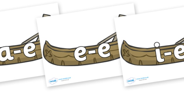 Modifying E Letters on Canoes - Modifying E, letters, modify, Phase 5, Phase five, alternative spellings for phonemes, DfES letters and Sounds