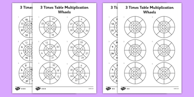 3 Times Table Multiplication Wheels Activity Sheet Pack - times table, multiplication wheel, multiply, activity sheet, worksheet, 3