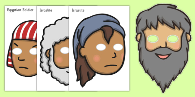 Moses Role Play Masks - Moses, Egypt, Hebrews, slaves, Pharaoh, basket, God, role play mask, role play, masks, palace, shepherd, burning bush, plague, Primised Land, law, stone, ten commandments, bible, bible story