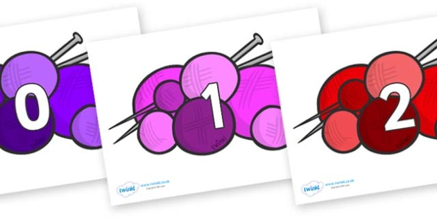 Numbers 0-31 on Balls of Wool - 0-31, foundation stage numeracy, Number recognition, Number flashcards, counting, number frieze, Display numbers, number posters