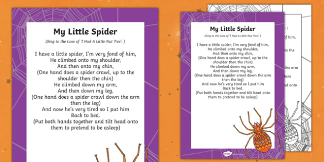 My Little Spider Finger Rhyme - halloween, rhyme, eyfs, early years, little spider, finger