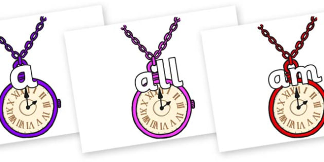 Foundation Stage 2 Keywords on Pocket Watches - FS2, CLL, keywords, Communication language and literacy,  Display, Key words, high frequency words, foundation stage literacy, DfES Letters and Sounds, Letters and Sounds, spelling