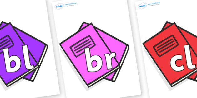 Initial Letter Blends on Exercise Books - Initial Letters, initial letter, letter blend, letter blends, consonant, consonants, digraph, trigraph, literacy, alphabet, letters, foundation stage literacy