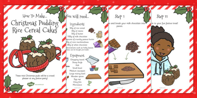 Christmas Pudding Rice Cereal Cakes Recipe Cards - recipe, cake