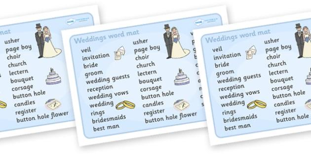 Wedding Word Mat (Text) - Wedding, word mat, writing aid, weddings, marriage, bride, groom, church, priest, vicar, dress, cake, ring, rings, bridesmaid, flowers, bouquet, reception, love