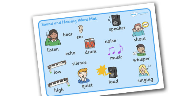 Sound And Hearing Word Mat - sound and hearing, word mat, mat, writing aid, Listening Area, Music Area, Music, sound, sounds, display, poster, instruments, listen, listening