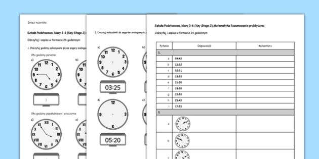 Zapisywanie godziny Test Matematyka Szkoła Podstawowa po polsku - polish, Key Stage 2, KS2, Reasoning, Test, Practice, Measurement, Time