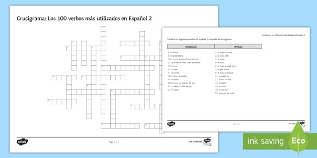 100 High Frequency Verbs 2 Crossword Spanish - Spanish Grammar, GCSE, Spanish verbs, 100, high frequency, crossword, translation