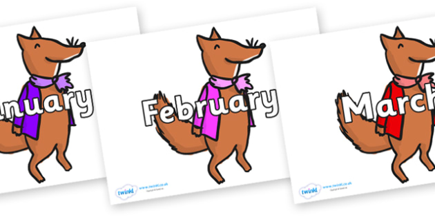 Months of the Year on Small Fox 1 to Support Teaching on Fantastic Mr Fox - Months of the Year, Months poster, Months display, display, poster, frieze, Months, month, January, February, March, April, May, June, July, August, September