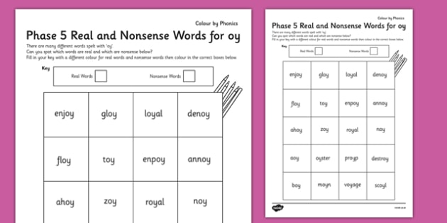 Phase 5 'oy' Colour by Phoneme Real and Nonsense Words - phase 5