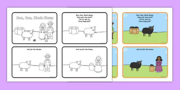 Baa Baa Black Sheep Sequencing (4 per A4) - Baa Baa Black Sheep, nursery rhyme, sequencing, rhyme, rhyming, nursery rhyme story, nursery rhymes, Baa Baa Black Sheep resources, master, dame
