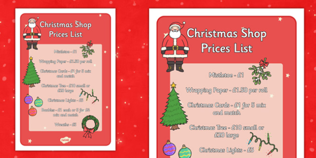 Christmas Shop Role Play Prices List - christmas shop, role play, price list, display, poster