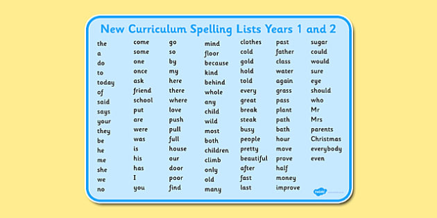 New Curriculum Spelling Lists Years 1/2 - Download and Print