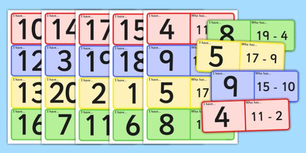 Subtraction Loop Cards to 20 - subtraction, loop cards, loop, cards, 20