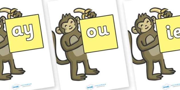 Phase 5 Phonemes on Monkeys - Phonemes, phoneme, Phase 5, Phase five, Foundation, Literacy, Letters and Sounds, DfES, display