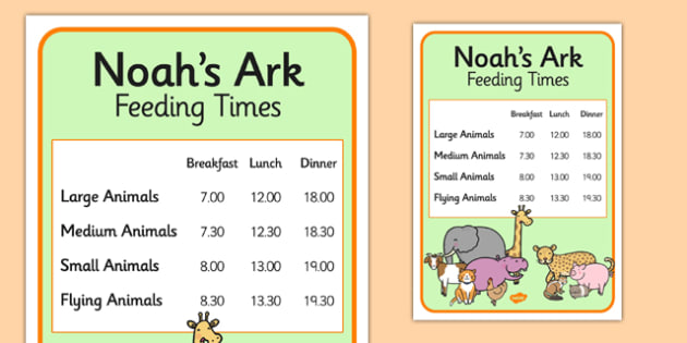 Noah's Ark Role Play Animal Feeding Times - Noah's ark, role play