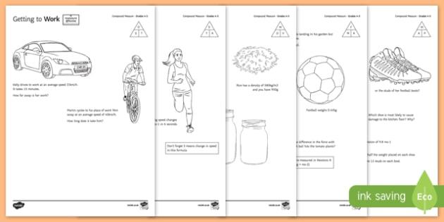 Measure at Home Compound Measures GCSE Grades 4 to 5 Activity Sheet Pack - measure at home, compound measures, gcse, grade, activity, worksheet