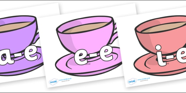 Modifying E Letters on Cups - Modifying E, letters, modify, Phase 5, Phase five, alternative spellings for phonemes, DfES letters and Sounds