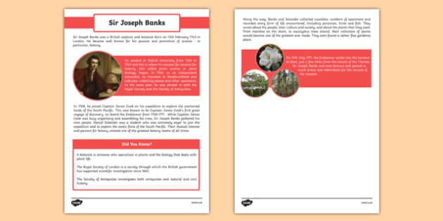 The First Fleet Sir Joseph Banks Information Sheet - australia, The First Fleet, Joseph Banks, voyage, botanist, information sheet, information, Endeavour, Captain Cook, plants