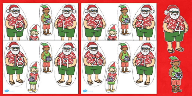 Number Bonds to 30 Matching Activity Santa and Elves - australia