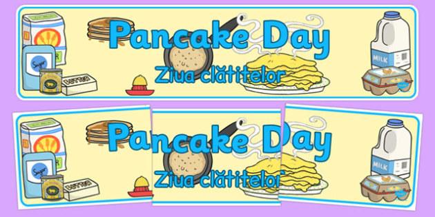 Pancake Day Display Banner Romanian Translation - romanian, pancake day, display, banner, day