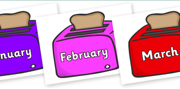 Months of the Year on Toasters - Months of the Year, Months poster, Months display, display, poster, frieze, Months, month, January, February, March, April, May, June, July, August, September