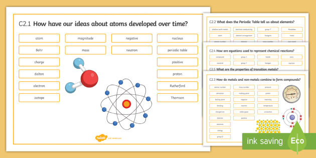 21st Century Chemistry C2 Chemical Patterns Word Mat  - Word Mat, gcse, chemistry, atomic model, bohr, Thomson, Rutherford, Dalton, periodic table, elements