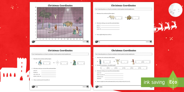 Year 4 Christmas Coordinates Activity - year 4, coordinates, activity, maths, mathematics, coordinate