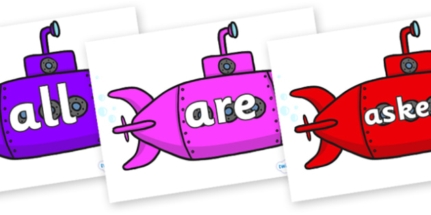 Tricky Words on Submarines - Tricky words, DfES Letters and Sounds, Letters and sounds, display, words