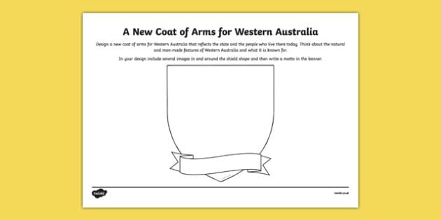 Western Australia Coat of Arms Design Sheet - australia, Western Australia, WA, emblem, coat of arms, design, drawing, art