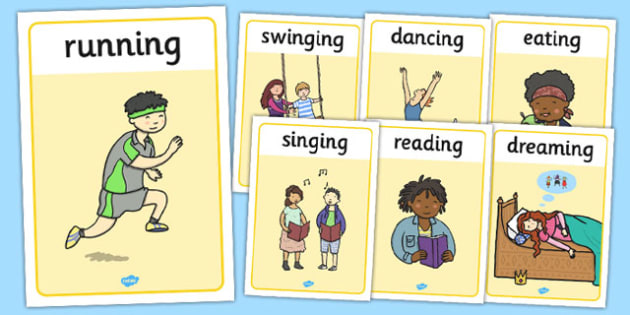 Verb Action Display Posters - verb, display, poster, sign, verbs, action, action word, mats, word mat, writing aid, ks2, grammer, English, learning to write