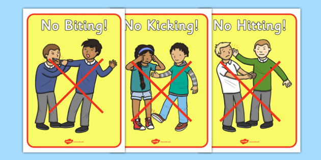 No Biting No Kicking Display Posters - No biting, no kicking, Good manners, good behaviour,  display, banner, class management, poster, sign, sharing, behaviour management, SEN, polite, indoor voice