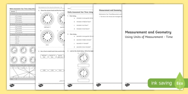 Year 3 Measurement and Geometry Units of Measurement Time Assessment - australia, year 3, measurement and geometry, units of measurement, time, assessment