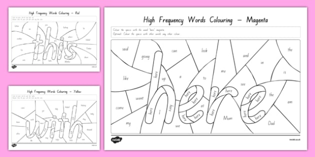 New Zealand High Frequency Words Colouring Activity Sheets, worksheet
