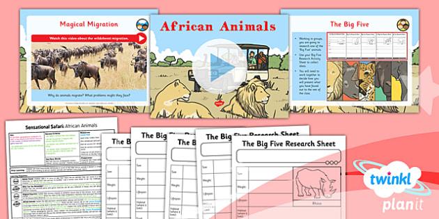 PlanIt - Geography Year 2 - Sensational Safari Lesson 4: African Animals Lesson Pack - planit, geography, safari, year 2