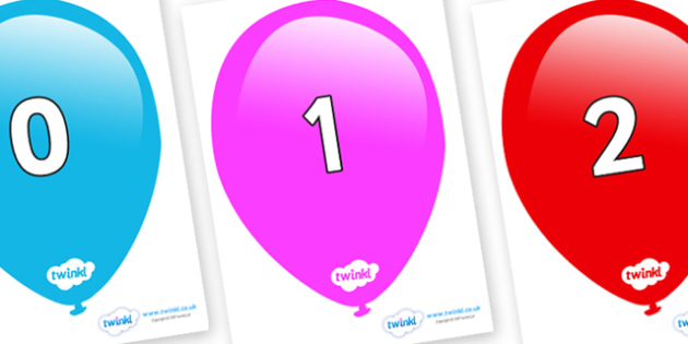 Numbers 0-31 on Balloons - 0-31, foundation stage numeracy, Number recognition, Number flashcards, counting, number frieze, Display numbers, number posters