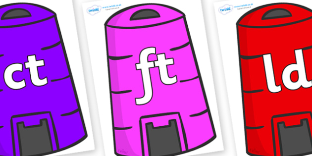 Final Letter Blends on Recycling Bins - Final Letters, final letter, letter blend, letter blends, consonant, consonants, digraph, trigraph, literacy, alphabet, letters, foundation stage literacy