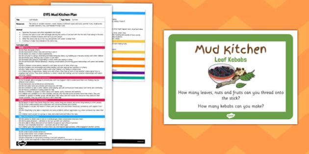 Leaf Kebabs EYFS Mud Kitchen Plan and Prompt Card Pack - mud kitchen