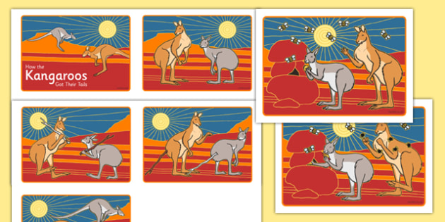 Aboriginal Dreamtime How the Kangaroos Got Their Tails Short Story Sequencing Cards - australia, aboriginal, dreamtime, how the kangaroos got their tails, story, sequencing, cards
