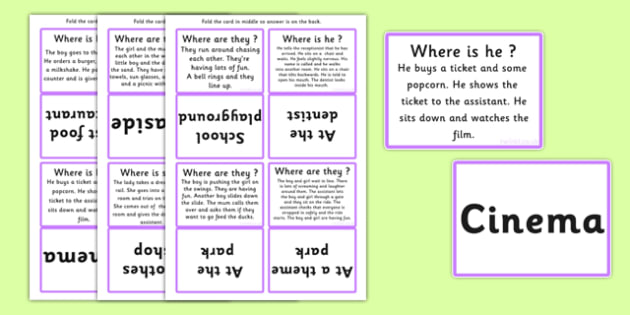 Where Are They Infer The Setting From The Text Cards - sen, cards