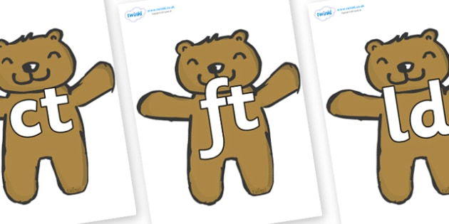 Final Letter Blends on Teddy Bears - Final Letters, final letter, letter blend, letter blends, consonant, consonants, digraph, trigraph, literacy, alphabet, letters, foundation stage literacy