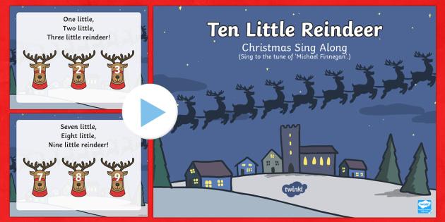 Ten Little Reindeer Sing Along Song PowerPoint