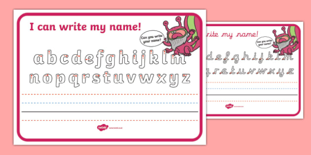 Monster Themed Name Writing Worksheet - name, writing, monster
