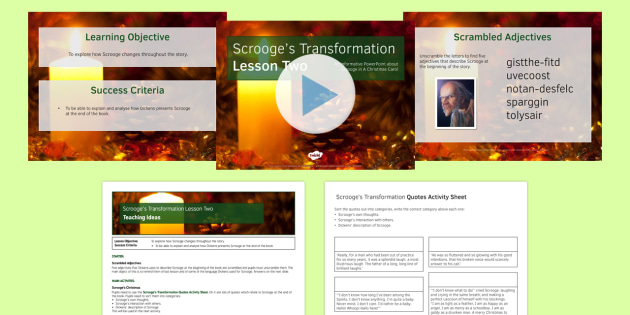 A Christmas Carol Lesson Pack 6: Scrooge's Transformation 2 - Stave Five - christmas carol, scrooge, transform