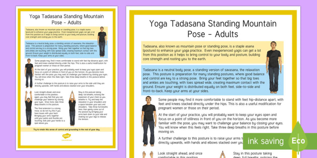 Tadasana Standing Mountain Pose – Adult Yoga Information Cards