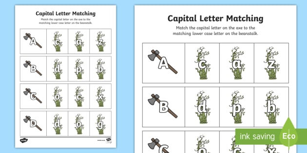 Jack and the Beanstalk Capital Letter Matching Worksheet - match