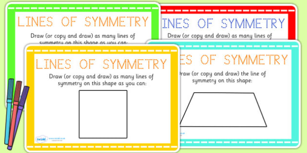 Draw the Line of Symmetry Maths Challenge Cards - symmetry, maths